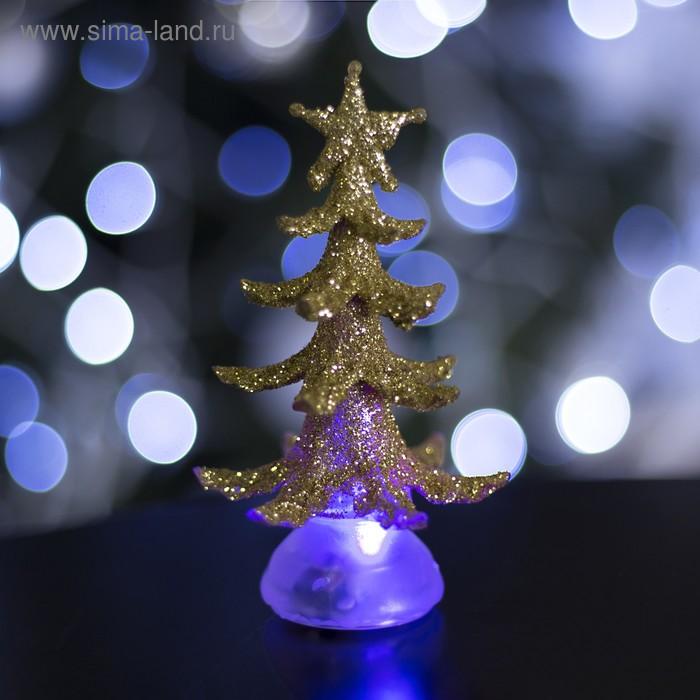 """Игрушка световая """"Новогодняя ёлочка"""" (батарейки в комплекте) 13 см, 1 LED, RGB, ЗОЛОТАЯ"""
