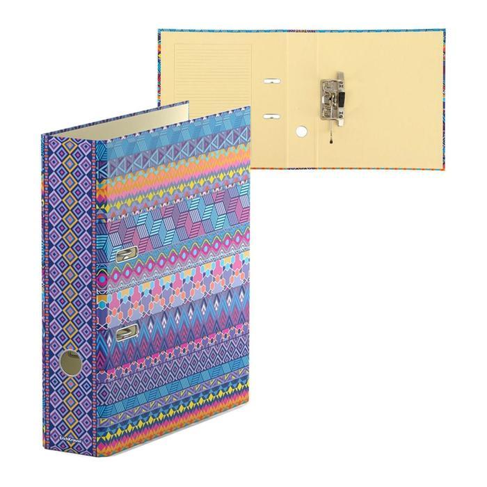 Папка–регистратор А4, 70 мм, FIESTA, собранный, картон, 2 мм, вместимость 450 листов, ламинированная с УФ-лаком