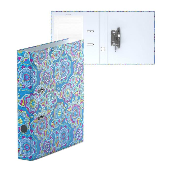 Папка–регистратор А4, 50 мм, ENIGMA, собранный, синий, картон 2 мм, вместимость 350 листов, ламинированная с УФ-лаком