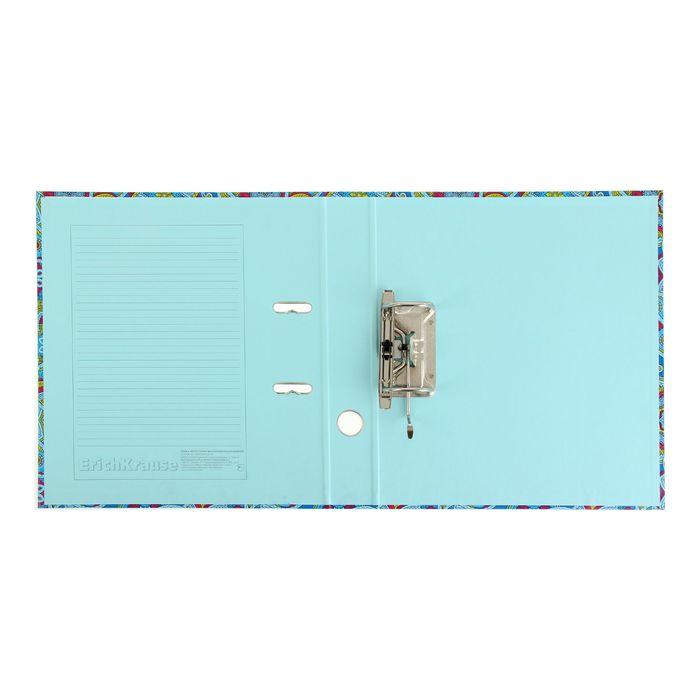 Папка–регистратор А4, 50 мм, ENIGMA, собранный, синий, картон 2 мм, вместимость 350 листов, ламинированная с УФ-лаком - фото 415603812