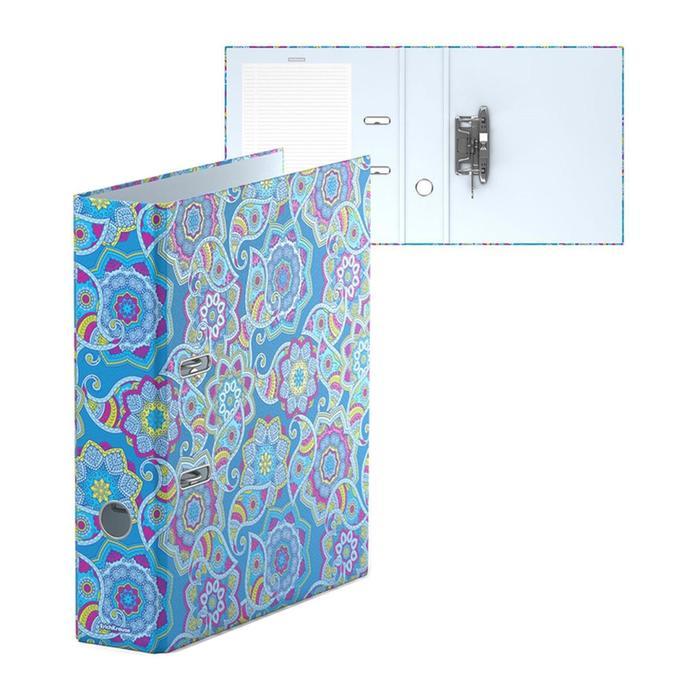 Папка-регистратор А4, 70 мм, ENIGMA, собранный, синий, картон 2 мм, вместимость 450 листов, ламинированная с УФ-лаком