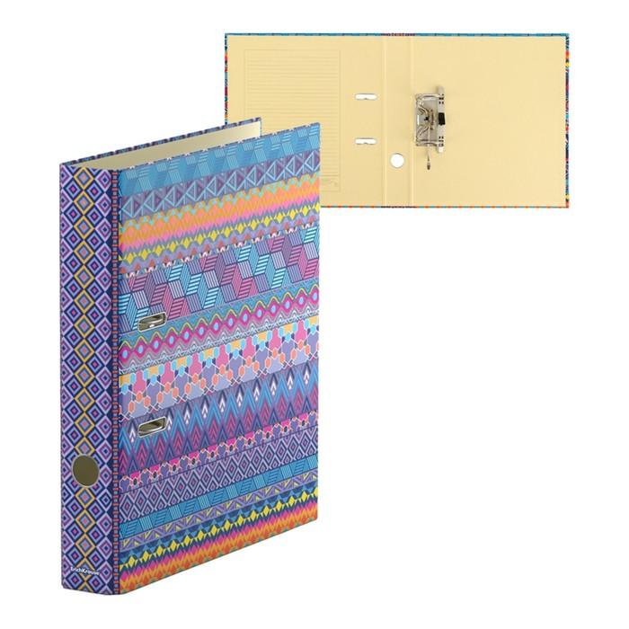 Папка–регистратор А4, 50 мм, FIESTA, собранный, картон 2 мм, вместимость 350 листов, ламинированная с УФ-лаком
