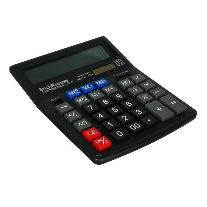 Калькулятор настольный 12-разрядный Erich Krause DC-777-12N - фото 408709757