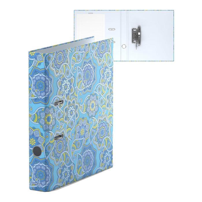 Папка–регистратор А4, 50мм ENIGMA, собранный, голубой, картон 2мм, вместимость 350 листов, ламинированная с УФ-лаком