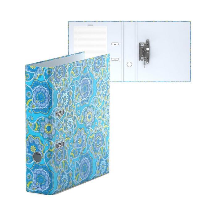 Папка-регистратор А4, 70 мм, ENIGMA, собранный, голубой, картон 2 мм, вместимость 450 листов, ламинированная с УФ-лаком