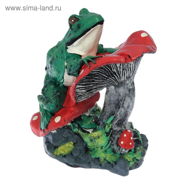 """Садовая фигура """"Лягушка на грибах"""" большая"""