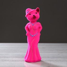 "Копилка ""Миледи кошка"", флок, розовая"