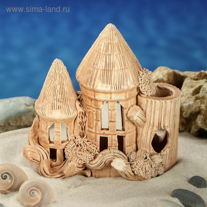 """Декорации для аквариума """"Замок с двумя башнями и деревом"""" малый"""