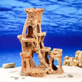 """Декорация для аквариума """"Замок с изогнутой башней'', 22 х 28 х 42 см"""