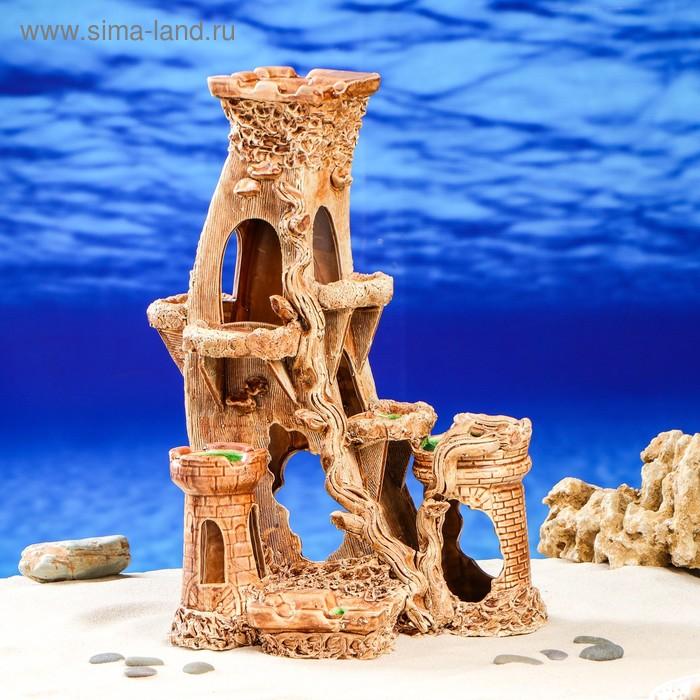 """Декорации для аквариума """"Замок с изогнутой башней"""" большой"""