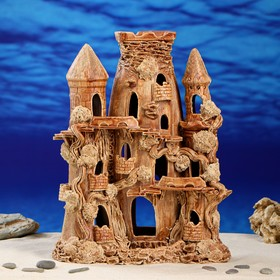 """Декорация для аквариума """"Башня с овальной башней"""", 16 х 26 х 33 см"""