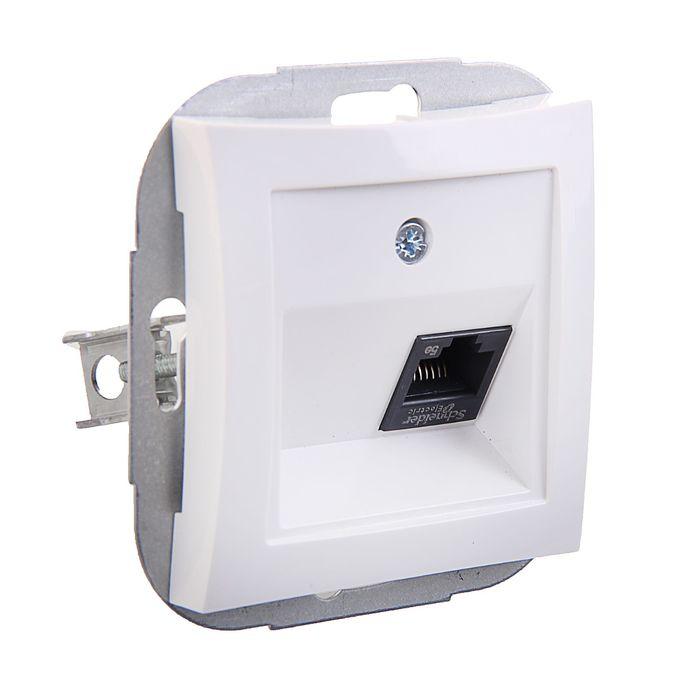 """Розетка компьютерная """"Дуэт"""" SchE WDE000183, RJ45, одноместная, скрытая, цвет белый"""