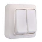 Выключатель двухклавишный наружный, белый