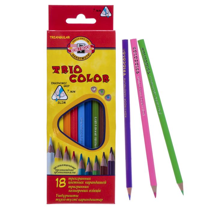 Карандаши 18 цветов, Koh-I-Noor 3133 TRIOCOLOR, картонная упаковка, европодвес