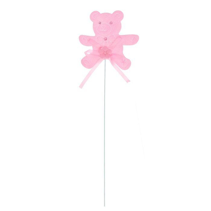 Топпер «Мишка», набор 6 шт., цвет розовый