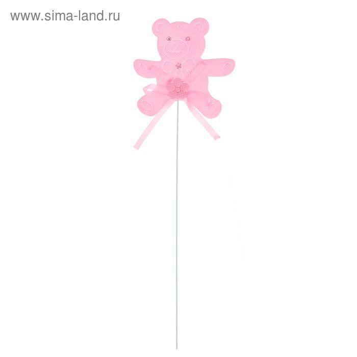 """Декор на палочке """"Мишка"""", набор 6 шт., цвет розовый"""