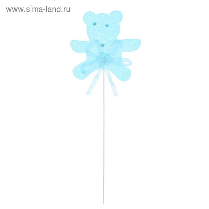 """Декор на палочке """"Мишка"""", набор 6 шт., цвет голубой"""