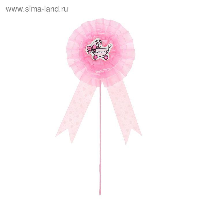 """Декор на палочке """"Коляска"""", цвет розовый"""