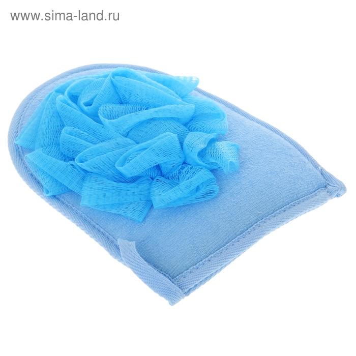 Мочалка-варежка комбинированная массажная, цвета МИКС