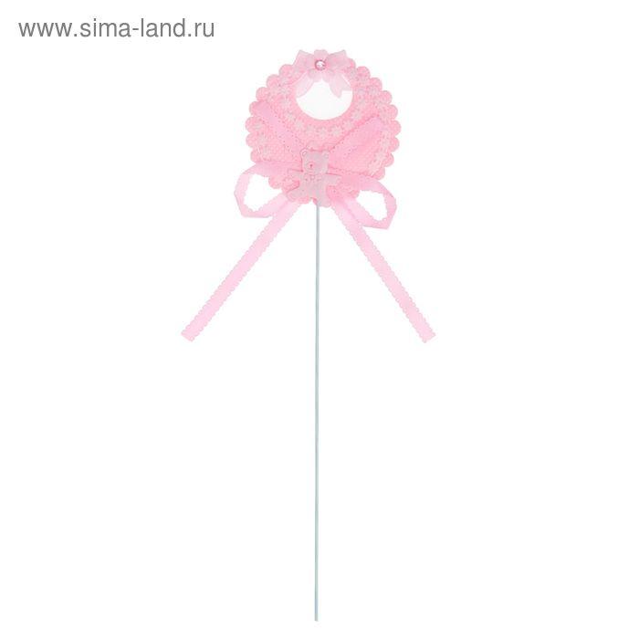 """Декор на палочке """"Нагрудник"""", набор 6 шт., цвет розовый"""
