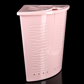 Корзина для белья угловая с крышкой Aqua, 40 л, 37×50×52 см, цвет МИКС