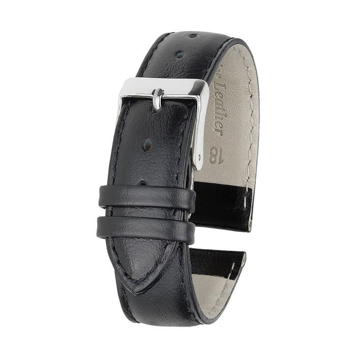 Ремень кожаный, присоед. р-р 18 мм, черный, удлиненный, микс