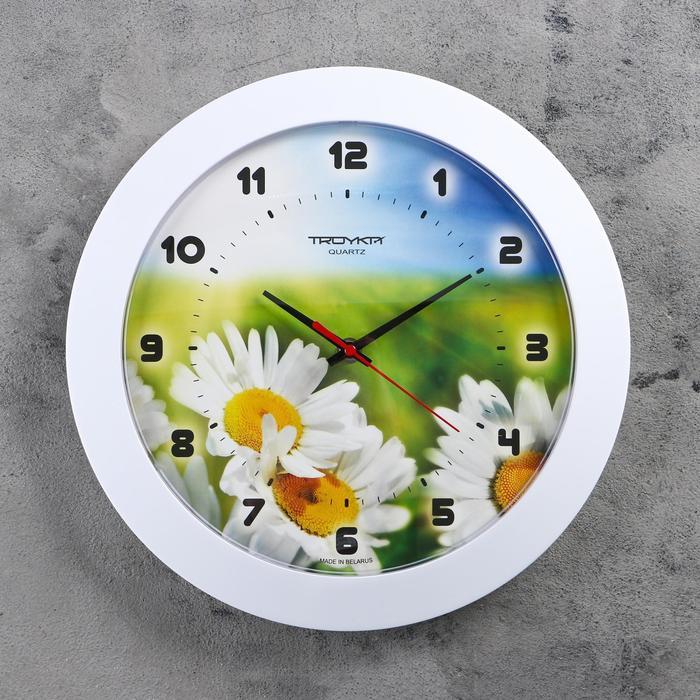 """Часы настенные круглые """"Ромашки"""", белый обод, 30х30 см"""