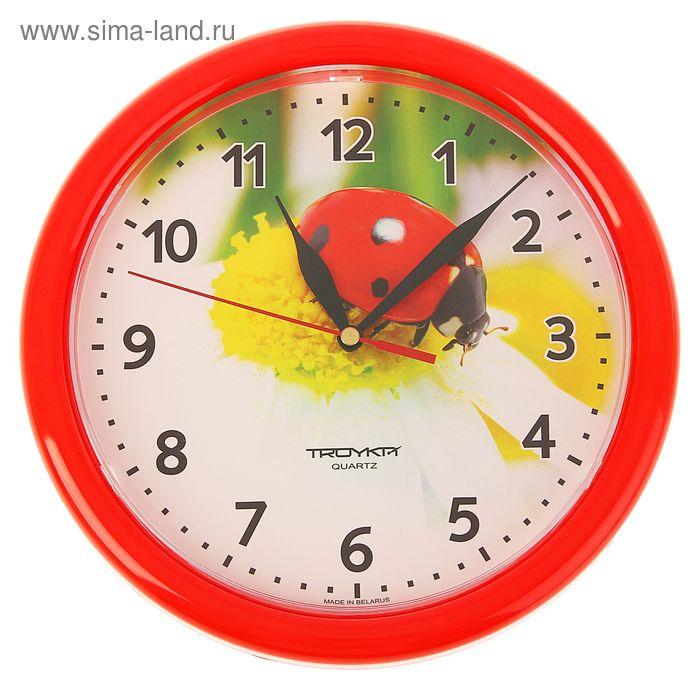 """Часы настенные круглые """"Божья коровка"""", красный обод, 24х24 см"""