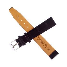 Ремень кожаный, присоед. р-р 16 мм, черный, отделка крокодил Ош