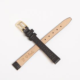 Ремешок для часов, женский, 10 мм, натуральная кожа, фактура питон, темно-коричневый