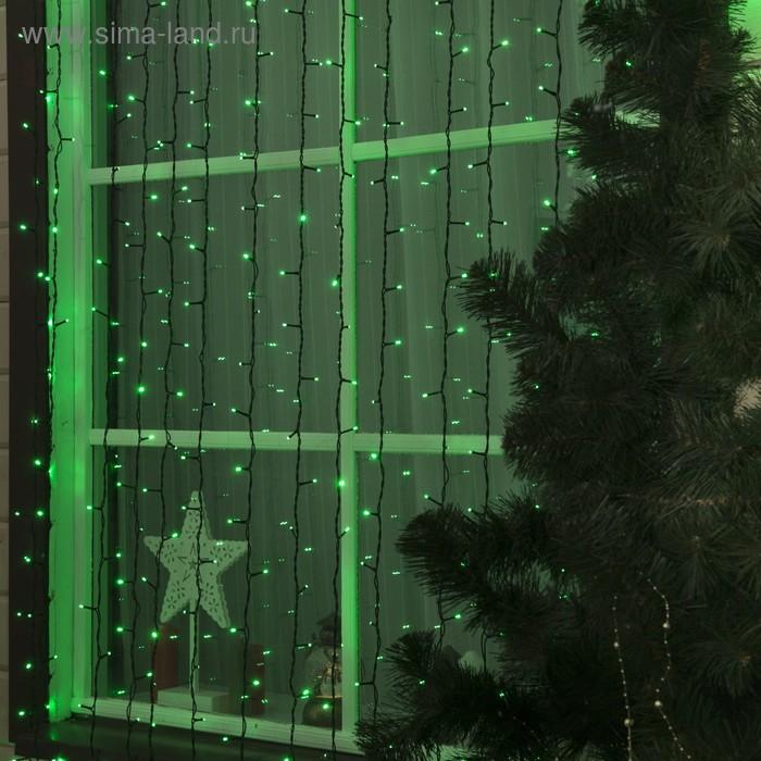"""Гирлянда """"Занавес"""" улич. УМС, Ш:2 м, В:3 м, Н.Т. 3W LED-760-220V, БЕЗ контр. ЗЕЛЕНЫЙ"""