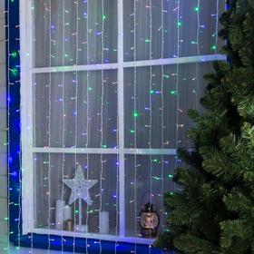"""Гирлянда """"Занавес"""" 2 х 9 м , IP44, УМС, белая нить, 1800 LED, свечение мульти, 220 В"""