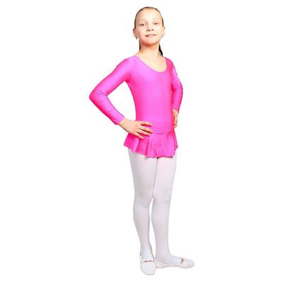 Купальник гимнастический с юбкой, с длинным рукавом, цвет розовый, размер 38