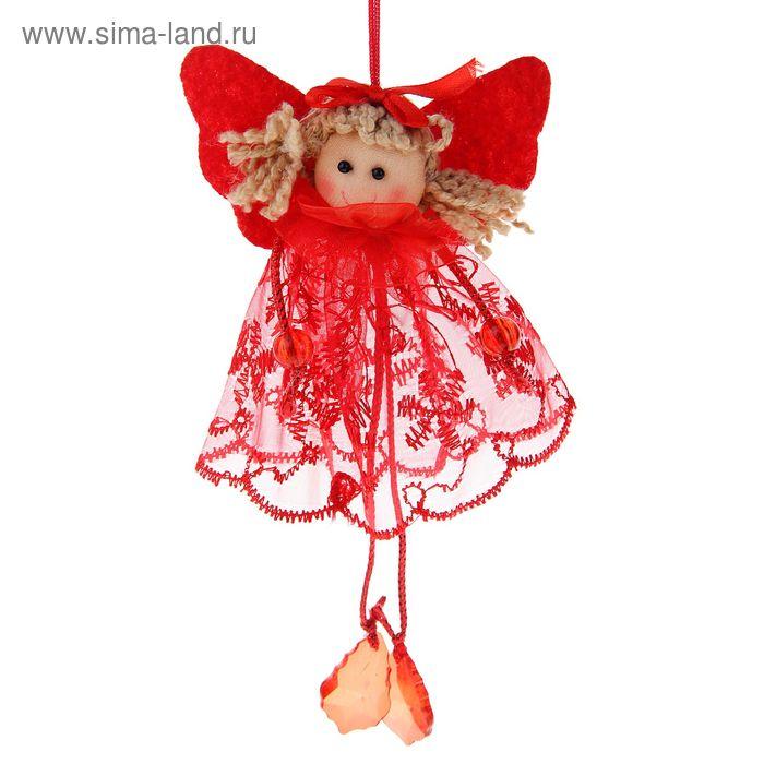 """Мягкая ёлочная игрушка """"Девочка в красном платье"""" ножки-кристаллики"""
