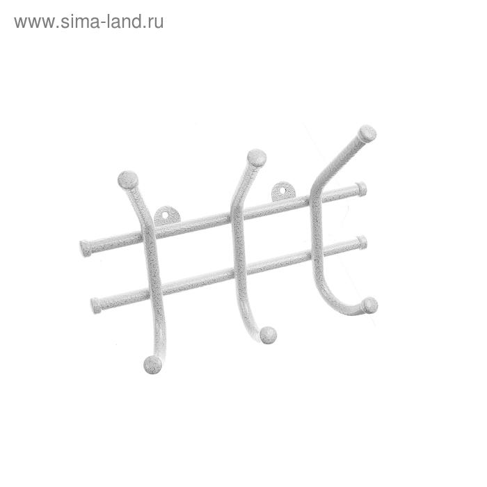 """Вешалка настенная """"Норма-3"""", белое серебро"""