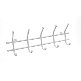 Вешалка настенная на 5 крючков «Норма-5», 48×16,5×8 см, цвет белое серебро