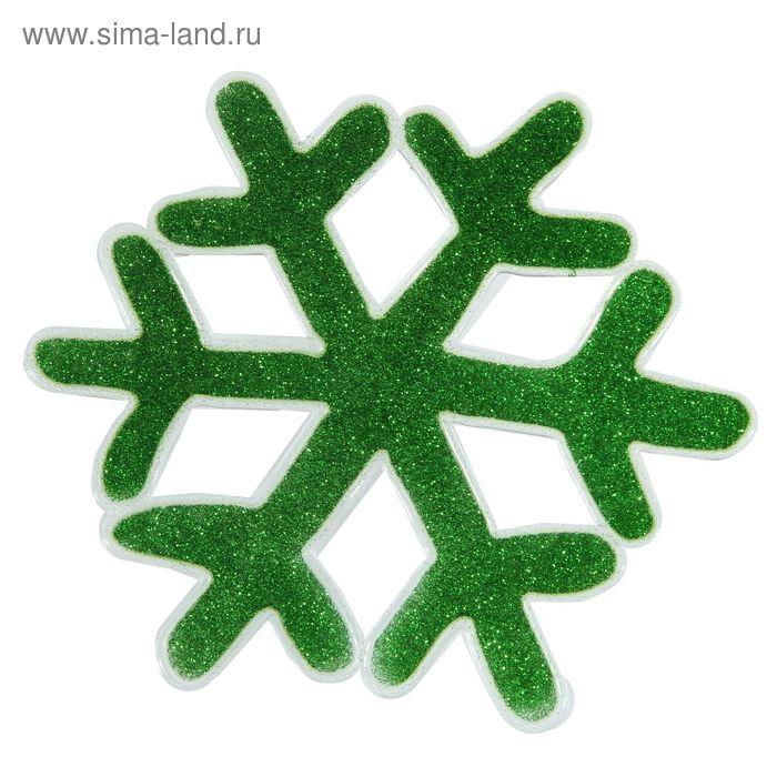 """Наклейка на стекло """"Зелёная снежинка с блестками"""""""
