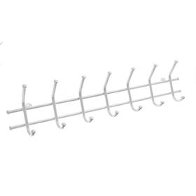 Вешалка настенная на 7 крючков «Норма-7», 70,5×16,5×8 см, цвет белое серебро