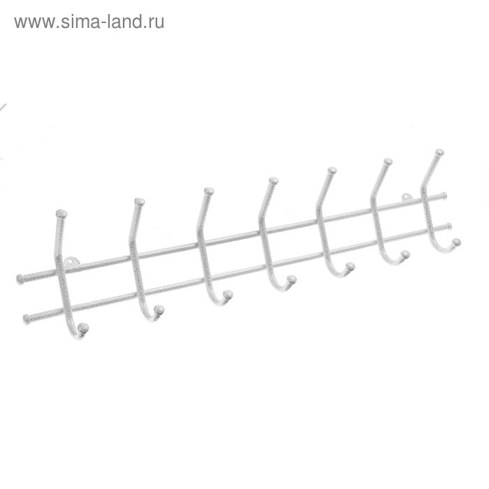 """Вешалка настенная """"Норма-7"""", белое серебро"""