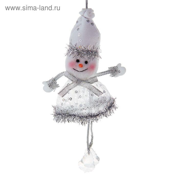 """Мягкая ёлочная игрушка """"Снеговик-серебрянка"""""""