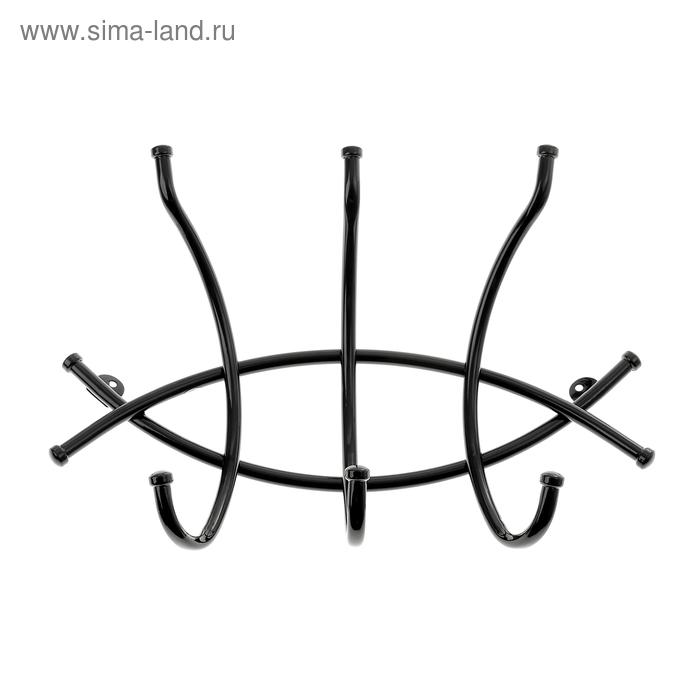 """Вешалка настенная """"Рыбка-3"""", цвет черный"""