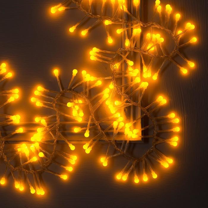 """Гирлянда """"Нить"""" уличная, УМС, мишура шарики 3 м, LED-288-220V фиксинг, нить прозрачная, свечение жёлтое"""