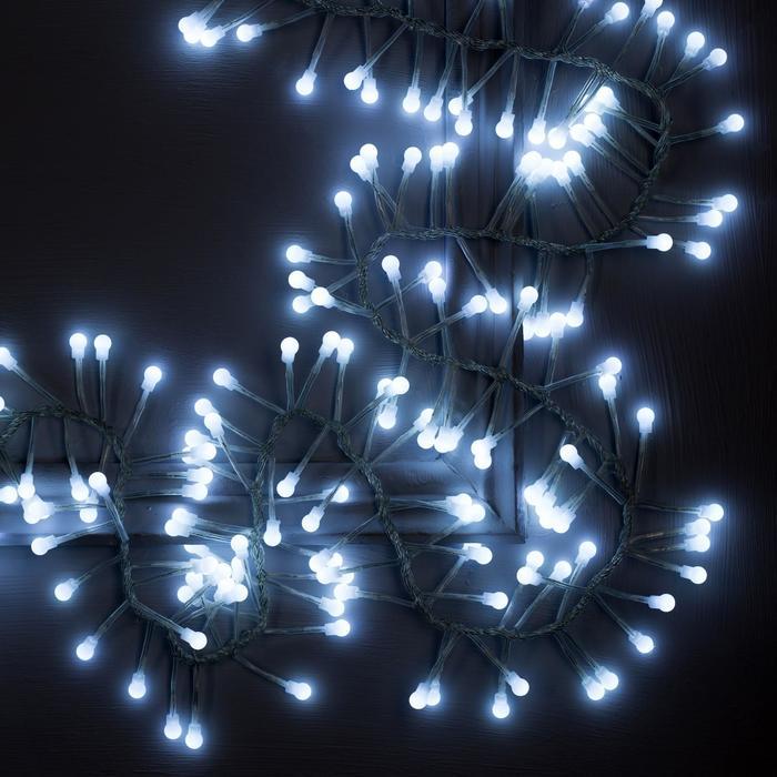 """Гирлянда """"Нить"""" уличная, УМС, мишура шарики 3 м, LED-288-220V фиксинг, нить прозрачная, свечение белое"""