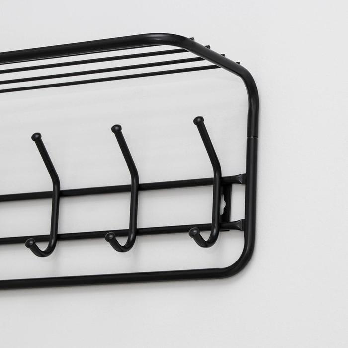 Вешалка настенная с полкой на 6 крючков, 72,5×22×26,5 см, цвет чёрный