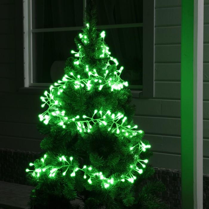"""Гирлянда """"Нить"""" уличная, УМС, мишура шарики 3 м, LED-288-220V фиксинг, нить прозрачная, свечение зелёное"""
