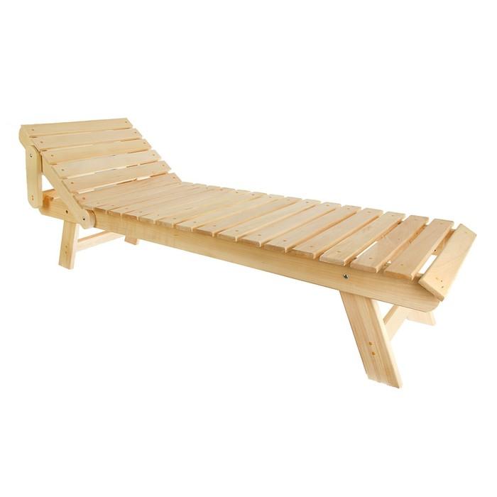 Лежак нераскладной с регулируемым подголовником 200*55*44,5см