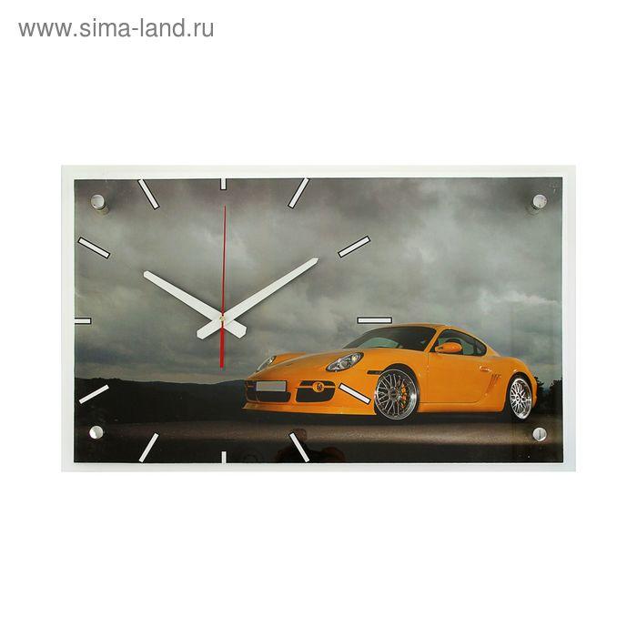 """Часы настенные прямоугольные """"Желтый суперкар"""", 36х60 см"""
