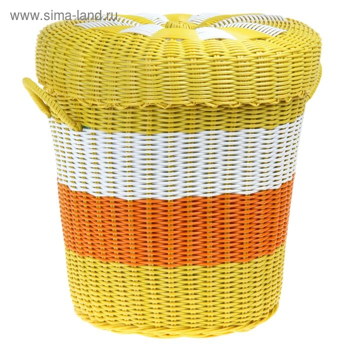 Корзина для белья плетеная с крышкой 35х35х35 см, цвет МИКС