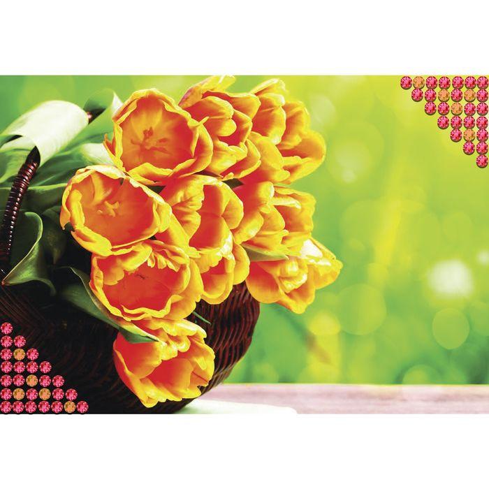 "Алмазная вышивка с полным заполнением ""Тюльпаны"", 22 х 32 см"