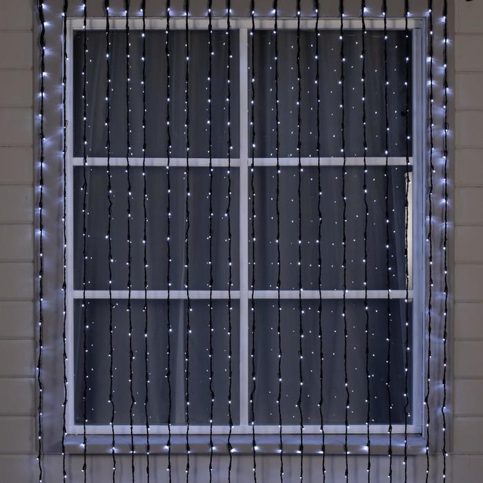 """Гирлянда """"Водопад"""" 2 х 6 м , IP44, УМС, тёмная нить, 1500 LED, свечение белое, 8 режимов, 220 В - фото 1610323"""